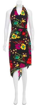 David Meister Floral Silk Halter Dress