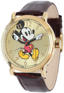 Disney Mickey Mouse Mens Brown Leather Strap Vintage-Style Watch