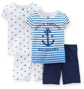 Carter's Baby Clothing Outfit Girls 4-Piece Snug Fit Cotton PJs Little Sweetie Blue
