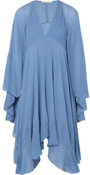 Chloé Cape-back Silk-crepon Mini Dress - Blue