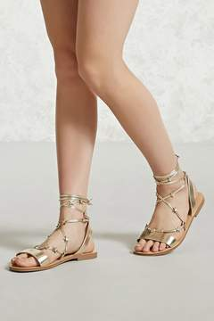 Forever 21 Star Accent Ankle-Wrap Sandals
