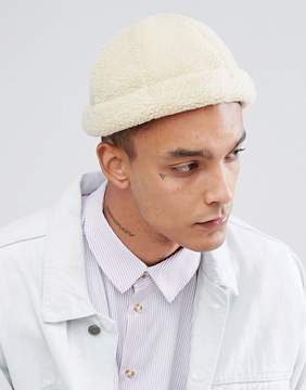 Asos Docker Cap In Ivory Faux Fur