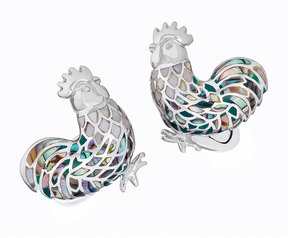 Jan Leslie Abalone & Mother-of-Pearl Rooster Cuff Links