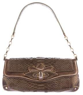 Judith Leiber Python Lotus Handle Bag