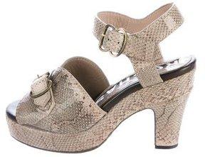 Rochas Snakeskin Platform Sandals