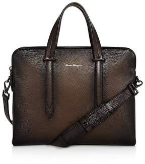 Salvatore Ferragamo Firenze Glow Pebbled Leather Slim Briefcase