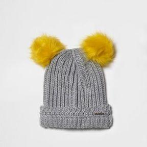 River Island Womens Light grey knit double bobble beanie hat