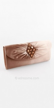 Camille La Vie Gathered Satin Half Flap Handbag