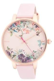 Ted Baker Floral Stainless Steel and Leather-Strap Watch