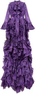 Iridescent organdy ruffle gown
