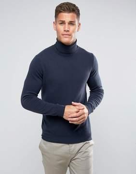 Benetton 100% Merino Roll Neck Sweater In Navy