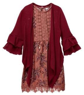 Beautees Crochet Top Paisley Dress & Ruffle Sleeve Sweater Set (Big Girls)