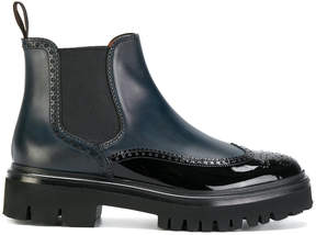 Santoni chunky sole combined boots