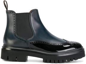 Santoni chunky sole combined boots