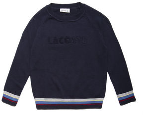 Lacoste Boys' Crew Neck Lettering Jersey Sweater