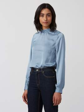 Frank and Oak Satin Gathered Mock-Neck Top in Blue