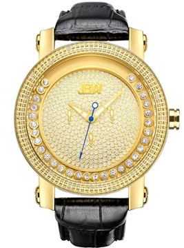 JBW Hendrix Gold-tone Steel Case Black Leather Strap White Crystal Pave Dial Men's Watch
