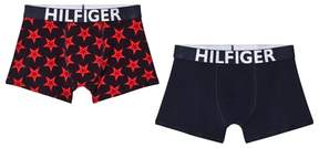 Tommy Hilfiger Pack of 2 Navy and Red Star Print Branded Trunks