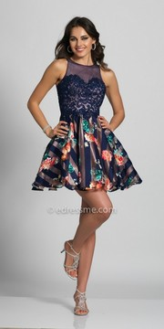 Dave and Johnny Sleeveless Stripes and Floral Keyhole Back Party Dress