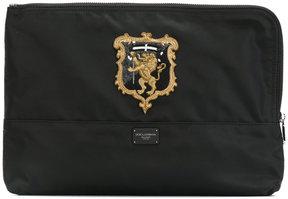 Dolce & Gabbana zip coat of arms clutch