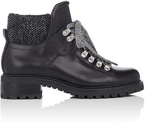 Barneys New York Women's Leather & Tweed Lace-Up Ankle Boots