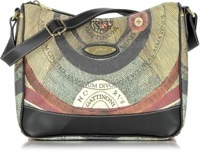 Gattinoni Planetarium Coated Canvas and Leather Hobo