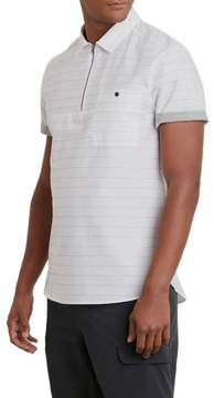 Kenneth Cole New York Short-Sleeve Zip Striped Popover - Men's
