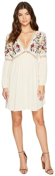 Brigitte Bailey Aubrie Long Sleeve Embroidered Dress Women's Dress