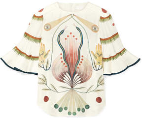 Chloé Ruffled Printed Silk Blouse - Ivory