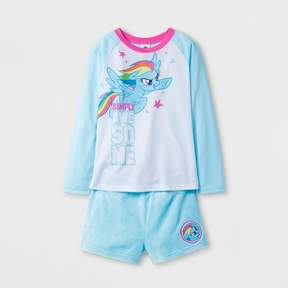 My Little Pony Girls' Long Sleeve Pajama Set With Gift Bag - Blue