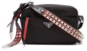 Prada New Vela Studded Nylon Shoulder Bag - Womens - Black Red