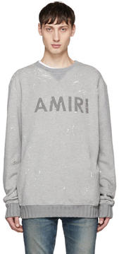 Amiri Grey Painted Logo Sweatshirt