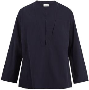 Lemaire Collarless cotton-poplin shirt
