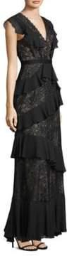 BCBGMAXAZRIA Floral Floor-Length Gown