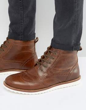 Red Tape Brogue Boots Tan Leather