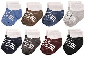 Hudson Baby Navy & Gray Sneaker Eight-Pair Socks Set