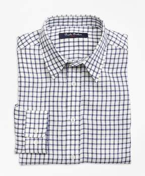 Brooks Brothers Irish Linen Mini Check Sport Shirt