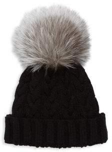 Adrienne Landau Cable-Knit Fox Fur Hat