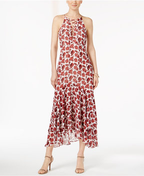 Betsey Johnson Printed Lace-Up Maxi Dress
