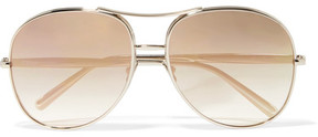 Chloé Nola Aviator-style Gold-tone Mirrored Sunglasses