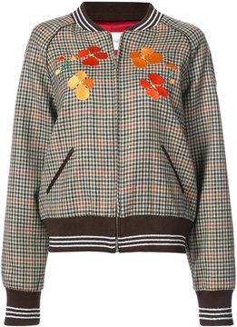 Rodarte embroidered checked bomber jacket