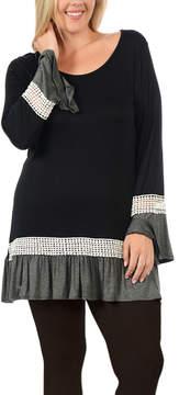 Celeste Black Crochet-Detail Tunic - Plus