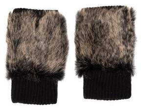 Adrienne Landau Fur-Trimmed Wool Gloves