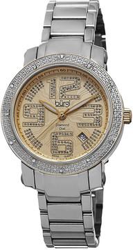Burgi Gold-tone Dial Diamond Bezel Ladies Watch