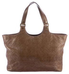 Tory Burch Stitch T-Burch Tote - BROWN - STYLE