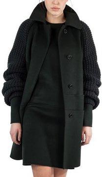 Akris Marais Textured-Sleeve Double-Face Coat, Shadow (Green)