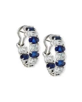 FANTASIA Alternating Blue & White CZ Hoop Earrings