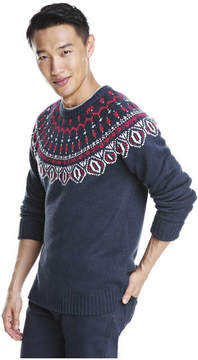 Joe Fresh Men's Fair Isle Raglan Sleeve Sweater, JF Midnight Blue (Size S)
