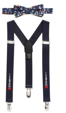 Nordstrom Boy's Space Ship Bow Tie & Suspenders Set