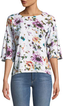 Chelsea & Theodore Floral-Print Flutter-Sleeve Blouse